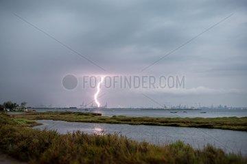 Lightning strike on a port area - Camargue France