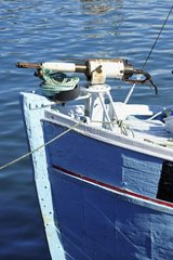Denmark. Greenland. West coast. The fishing harbour of Ilulissat. Here a whale hunting boat with its harpoon.