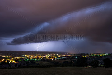 Strong thunderstorms in the night on Aurillac - France