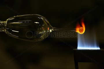Making the stem of a wine glass - France