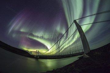 Northern Lights and Bridge Joekulsá  Iceland