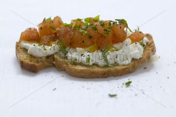 Bruschetta with tomatos and the Ricotta France