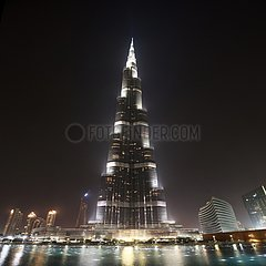 Burj Khalifa and fountain show at night - Dubai