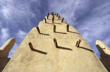 Mosque of an African village made of banco in Ningari Mali