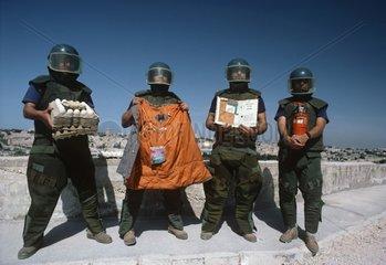 Israeli Sappers show camouflaged bombs Jerusalem Israel