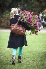 Shopping of Surfinia petunia in a garden show
