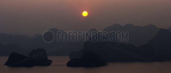 Karst islands of Halong Bay at dusk - Vietnam