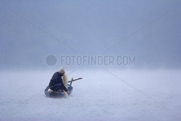 Fisherman on the lake of Ba B? - Vietnam