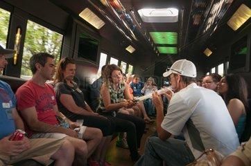 Smoking marijuana on a cannabis bus tour. Denver  CO