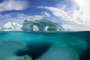 Underwater view of melting iceberg in Harbour Islands on Hudson Bay just south of arctic circle  Repulse Bay  Nunavut Territory  Canada