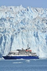 Denmark. Greenland. West coast. The Sea Explorer I  cruise boat  in front of the glaciar Eqip Sermia in the Quervain bay.