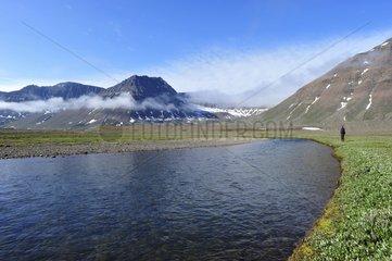 Denmark. Greenland. West coast. Disko island. Trek in Mellemfjord bay.