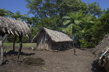 Traditional house in the village of Yakel - Tanna Vanuatu