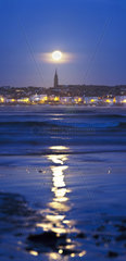 Moonset over Douarnenez and its reflection - Bretagne France