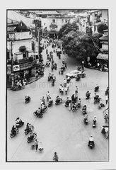 Intense traffic in the historic center in Hanoi Vietnam