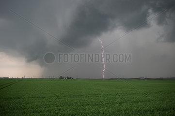 Thunderstorm very rainy above countryside - France Centre