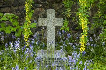 Tomb in the cemetery floral - Isle Lewis Hebrides Scotland