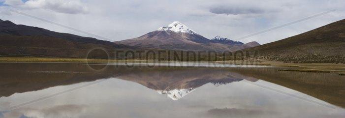Volcano Isluga reflected in a lake on the Altiplano Chile