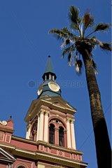 Belfry of the colonial church in Santiago de Chile
