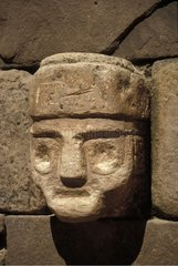 Portrait of a divinity carved in the stone Bolivia