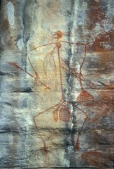 Prehistoric drawing of a man with his weapons Australia