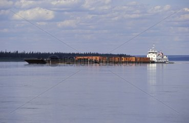 Push and barge on Mackenzie river Canada