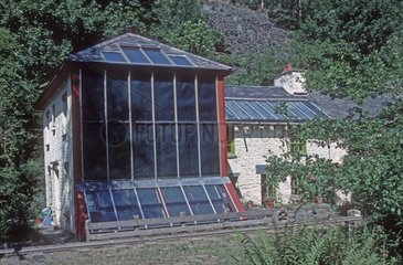 Solar house with solar thermal panels Wales UK