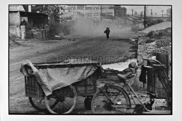Street scene deserted Hongai in Vietnam