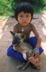 Young girl with her pup Angkor Vat Siem Reap Kampuchea