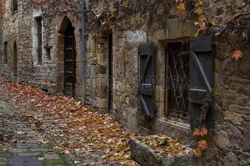 Historic street in autumn Cordes sur Ciel France