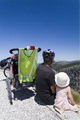 Tourism cycling family in Gorges du Verdon France