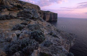 Cliffs of Qwara in the twilight on the island of Gozo Malta