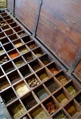 Traditional indian chest of spices Roellinger Cancale France