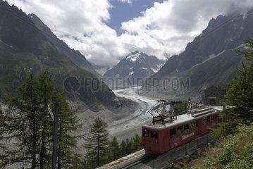 Glacier de la Mer de Glace and railway station Montenvers