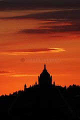 Shade of the Basilica of Lisieux in the red sky France