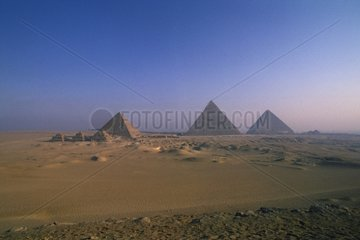 Landscape with pyramids of Giza Plateau Cairo Egypt