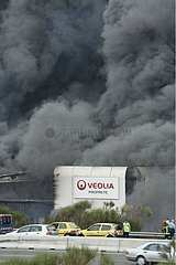 Fire in the Veolia waste center in Drôme France