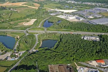 Aerial view of a highway junction in the Doubs France