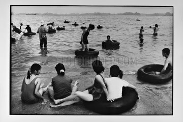 Swimming on the beach of City Along with buoys Vietnam