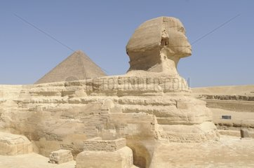 Great Sphinx and Khufu's Pyramid in Giza plate Egypt