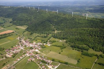 Aerial view of windmills on Lomont massif Doubs France