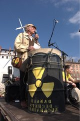 Man speaking at the microphone during a demonstration Lyon France