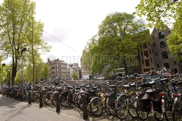 Carpark with bicycles in Amsterdam Netherlands