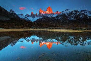 Reflex of Fitz Roy mount at sunrise  Los Glaciares National park Patagonia  Argentina