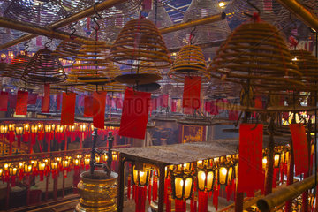 Incense and Lanterns in a Temple  Hong Kong City  China