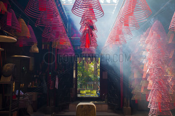 Incense rolls burning in a temple  Hong Kong City  China
