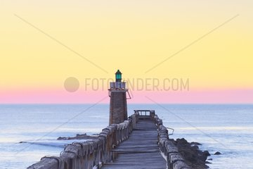Estacade  wooden pier and lighthouse at Capbreton  Aquitaine  France