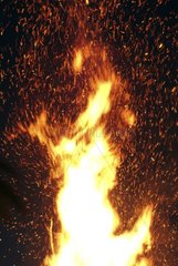 Fire of Midsummer's Day in night France