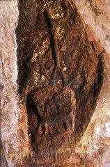 Men and camelids Grottoes Mollepunko Altiplano Peru