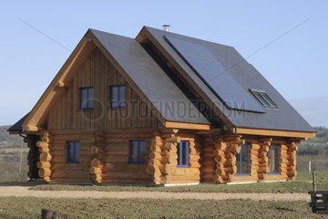 Wooden house with photovoltaic central in Mayenne France